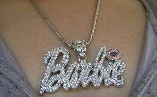 Nicki Minaj Iced Out Pink LIPS Hip Hop Crystal Barbie Silver Necklace