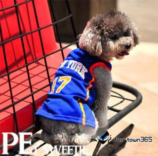 Blue New York basketball sports Pet/Dog/Puppy Apparel Cloth costume T