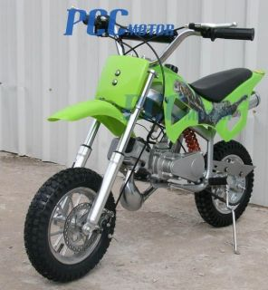 NEW 49CC 50CC 2 STROKE GAS MOTOR MINI BIKE DIRT PIT BIKE GREEN H DB49A