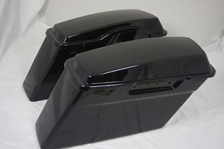 Vivid Black Harley HD Touring Hard Saddle bags Road King Ultra Glide