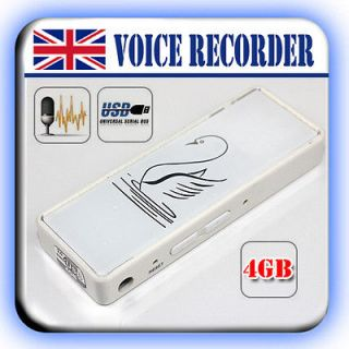 White REC 4GB Dictaphone USB pen Drive Memory Stick digital voice