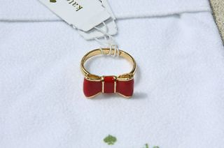 NWT Kate Spade Jewelry Gold Plated Take a Bow Ring Modern Red Size 6