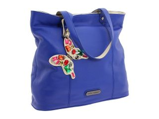 Betsey Johnson Women Pop Butterfly Blue Pebbled Leather Bag Tote