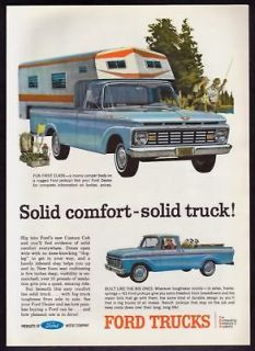 1963 Ford Custom Cab Pickup Truck Camper Body print ad