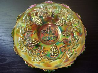 Antique Fenton Carnival Glass Electric Green Vintage 7.5 in. Plate