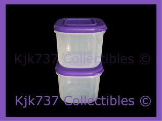 SQ TUPPERWARE 2 MINI CLEAR MATES SNACK FRIDGE CONTAINERS PURPLE ¾ CUP