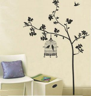 Birdcage Bird Tree Branch Removable Wall Sticker Home Decor Decal Art