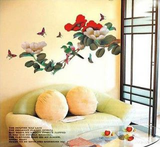 Beautiful JAPANESE FLOWER TREE BIRDS Butterflies WALL DECO MURAL