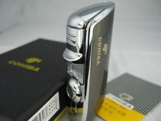 COHIBA 3 Jet Torch Cigar Lighter With Cigar Punch NIB Black & Chrome