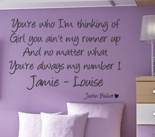 JUSTIN BIEBER Favourite girl   Wall quote art sticker   Personalised