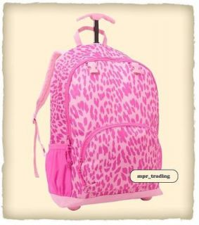 NWT GAP Kids Girls Leopard Print Roller Rolling Backpack School Book
