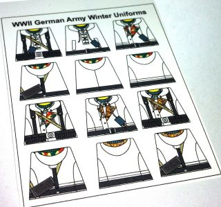 Custom stickers for lego german soldiers   WW2 WINTER german uniforms