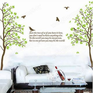 Love Twins Tree Birds Wall Sticker Home Decor Decal Art Removable