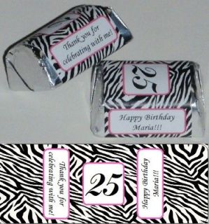 60 ZEBRA PRINT BIRTHDAY PARTY WEDDING BABY SHOWER CANDY WRAPPERS