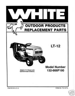 White LT 12 Lawn Tractor Riding Mower White LT 12 Lawn Tractor Riding