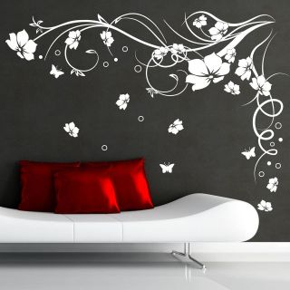 LARGE FLOWER & BUTTERFLY VINE WALL STICKER DECAL AB104