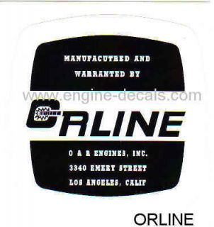 Engines ORLINE decal vintage mini bike Los Angeles