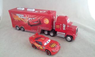 Cars Movie Lightning McQueen & MACK Mack Truck trailer Lot of 2 Toy