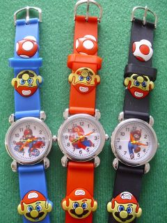 SUPER MARIO BROS SILICONE RUBBER 3D WATCH BOYS OR GIRLS + SPARE/ BAT