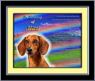 Personalized Dog Memorial Dachshund w/Dogs Name Rainbow Bridge Poem