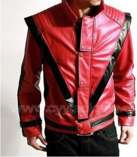 Michael Jackson MJ Costume Thriller Red Leather Jacket Replica All