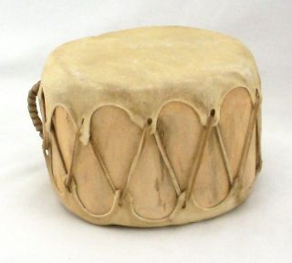 Native American Handmade Wooden Hand Drum Hollowed Log & Leather