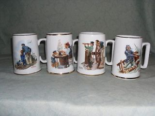 NORMAN ROCKWELL GILDED NAUTICAL COFFEE MUG SERIES COMPLETE SET OF 4