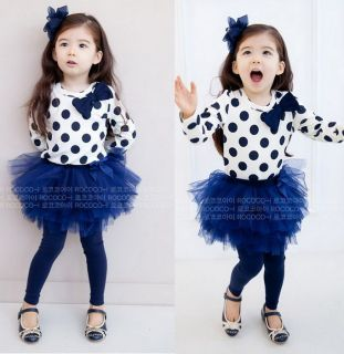 Baby Toddler Girl Kids Clothes 2 Piece Set Dress Top+Leggings SKirt S0