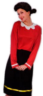 Olive Oyl Oil Halloween Costume Adult Womens Outfit Dress Wig Popeye