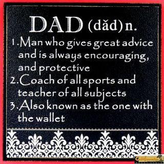 DECORATIVE DAD PLAQUE FATHERS DAY black beige humorous wood MDF faux