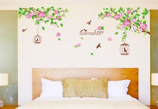 Hibiscus Flower Tree Removable Wall Sticker Flower Room Decor Decal