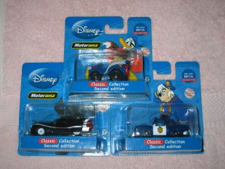 LOT OF 3 DISNEY MOTORAMA CAR DIE CAST MENTAL COLLECTION SCALE 164