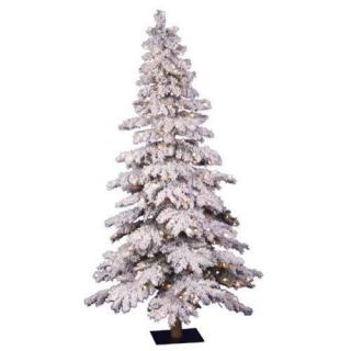 48 Prelit Flocked Spruce Christmas Tree 150 Clear Lts