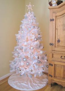 Ft Tall White With CLEAR lights Artificial Christmas Tree Shabby Chic