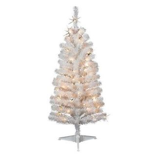 White Spruce Tree Pre Lit Clear Lights Christmas Tree NEW