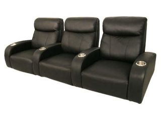 Rialto Home Theater Seating 3 Front Row Seats Black Leather Chairs