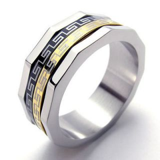 Classic Gold Black Silver 3 Tone Stainless Steel Band Mens Ring W19949
