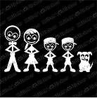 FAMILY STICK FIGURES DAD MOM SON SON DOG Vinyl Decal 7.5x4 car