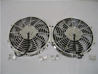 Dual 12 CHROME Electric Radiator Cooling Fans (TWO)