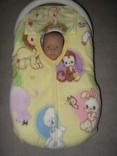 PRECIOUS MOMENTS ANIMALS DOUBLE FLEECE BABY CAR SEAT COVER WITH FULL