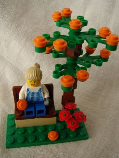 Girl ORANGE TREE & BENCH CUSTOM BUILDING KIT contains all new LEGO