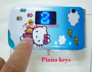 Hello kitty Cell phone 2014 Dual Sim Card FM TV Piano sound Flip Blue