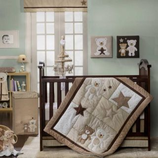 White & Light Brown Teddy Bears w/ Stars Neutral Baby Crib Bedding