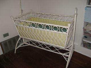 vtg antique wicker white cradle late victorian circa early 1900s art