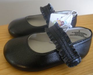 Infant Girl Black Mary Janes Dress Shoe Velcro Circo Annis Size Casual