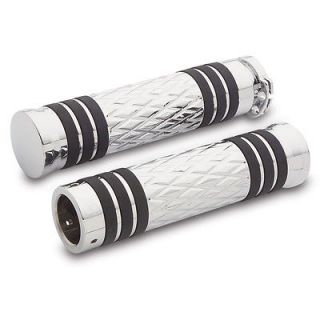 Arlen Ness Grips For Cable Style Bars Diamond FlatBand Pair Chrome