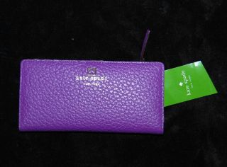 Kate Spade leather purple pebbled Stacy Stacey Southport Avenue wallet