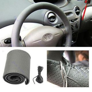New Leather DIY Car Steering Wheel Cover With Needles and Thread Gray