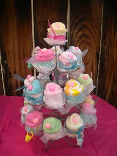 Baby Shower Washcloth Favors Cup Cakes 48pc Shabby Chic Zebra,Lady