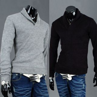 New Mens Fashion Slim Fit Knitted Sweater Jumpers Tops 3Color 4Size